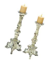 Deco 79 Wooden Candle Holder, Contemporary Rubbed Finish,