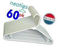 Neaties USA Made White Plastic Hangers with Bar Hooks, 60pk