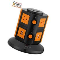 Bestten Smart Power Strip Tower - 4-Port USB Charger - 6-
