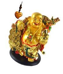 Feng Shui Golden Happy Buddha with Ingot -cmf