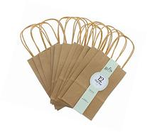 Brown Kraft Bag, Birthday Party Gift Favor Bag Set - 12