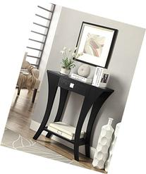 Black Finish Console Sofa Entry Table with Drawer