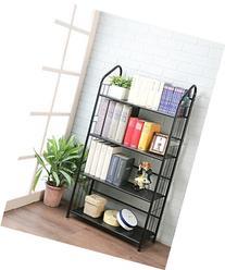 Black Four Tier Metal Bookshelf Rack