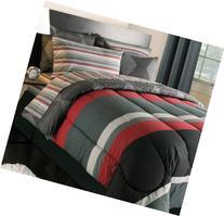 Black Gray Red Stripes Boys Teen Twin XL Comforter Set