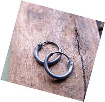 Black Hoops for Men - Oxidized Sterling Silver Hoop Earrings