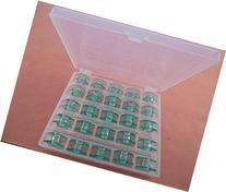 Box of 25 Clear GREEN Bobbins Viking Husqvarna White Home #