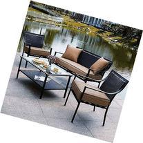 Braddock 4-Piece Patio Furniture Conversation Set, Seats 4