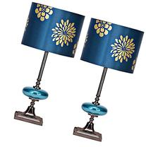 Braxton Silver and Blue Metal Table Lamp Set of 2