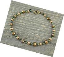 Bronze Anklet in Bronze Pearls and Czechoslovakian Glass in