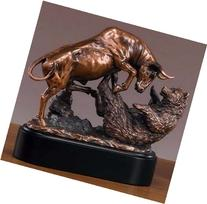 "Bronze Electroplated Resin Bull & Bear Sculpture Statue 10"""