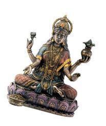 Bronze Hindu Goddess Lakshmi On Lotus Hinduism Display