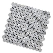 "Carrara White  1"" Hexagon Mosaic Tile Polished - Marble from"