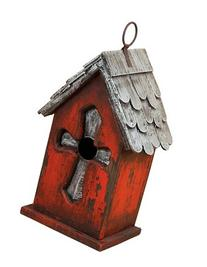 Carson Home Accents Silver Cross Birdhouse, 9-1/4-Inch