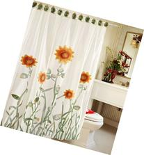 Chezmoi Collection White/Green/Yellow 3D Sunflower Shower