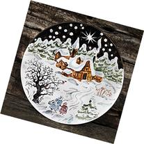 Christmas Eve Hand Painted Ceramic Wall Plate, winter