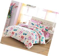 Cliab Pink Owl Bedding for Girls Butterfly Queen Size Duvet