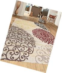 Rugshop Contemporary Modern Floral Indoor Soft Area Rug, 7'