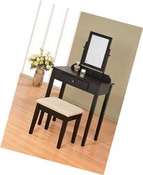 Contemporary Vanity Set with Adjustable Mirror and Stool