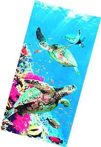 Coral Turtle Velour Brazilian Beach Towel 30x60 Inches