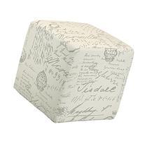 Cortesi Home CH-OT258670 Braque Cube Ottoman in Linen Script