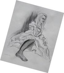 Costume Sketch, charcoal drawing