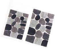 Cotton Craft - 2 Piece Bath Rug Set - Pebbles Stones with
