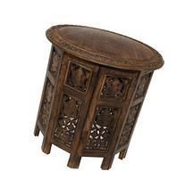Cotton Craft Jaipur Solid Wood Hand Carved Accent Coffee