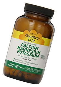 Country Life - Calcium Magnesium Potassium, 180 tablets