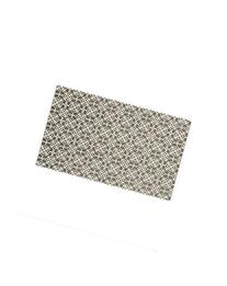 2-Piece Washable Rug System Floral Tiles Rich Grey & White