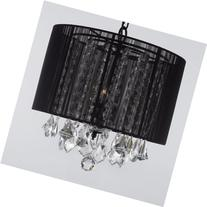 """Crystal Chandelier Chandeliers With Large Black Shade! H15"""""""