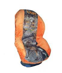 Custom Toddler Car Seat Cover- - Camo & Orange Minky