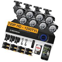 DEFEWAY 8 Channel Security Camera System with 8pcs 720P HD