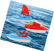 Dazzling Toys Bath and Sand Boat Set, 3 Pack. Tugboat,