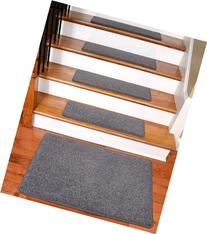 "Dean Carpet Stair Treads 27"" x 9"" Gray Plush  Plus a 2' x 3"