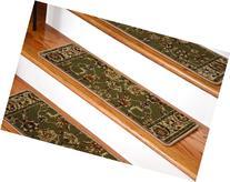 Dean Premium Carpet Stair Tread Rugs - Elegant Keshan Sage