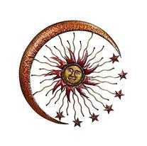 Deco 79 42770 Metal Sun Moon Wall Decor, 36