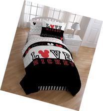 Disney Mickey Mouse Love Comforter with Sham Set, Twin