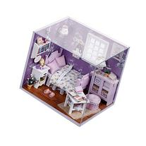 Cuteroom Dollhouse Miniature DIY Kit with Cover and LED Wood