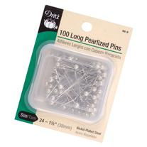 Dritz 100-Piece Long Pearlized Pins, 1-1/2-Inch, White