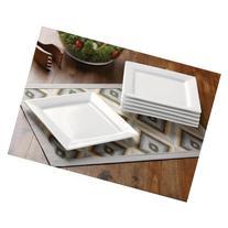 Durable Dining Salad Porcelain Square Plates, White, Set of