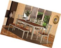 East West Furniture NICO6-WHI-W 6-Piece Dining Table Set,