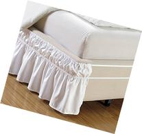 Wrap Around Style WHITE Ruffled Solid Bed Skirt Fits both