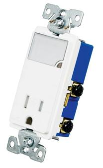 Eaton TR7735W 3-Wire Receptacle Combo Nightlight with Tamper