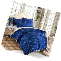 EsyDream Home Bedding,Blue Color constellation 4PC Duvet