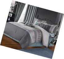 Chic Home Euphoria 8-Piece Embroidered Comforter Set, Aqua