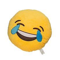 EvZ 32cm Emoji Smiley Emoticon Yellow Round Cushion Stuffed