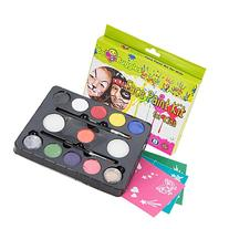 Face Paint Kit with 30 Stencils, 9 Paints + 2 Glitters By Bo