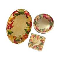 Fall Harvest Theme Disposable Dining Set - Paper Plates,