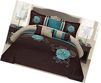 Fancy Collection 7-pc Embroidery Bedding Brown Turquoise