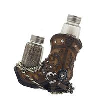 Fancy Cowboy Boot Salt and Pepper Shaker Set with Decorative